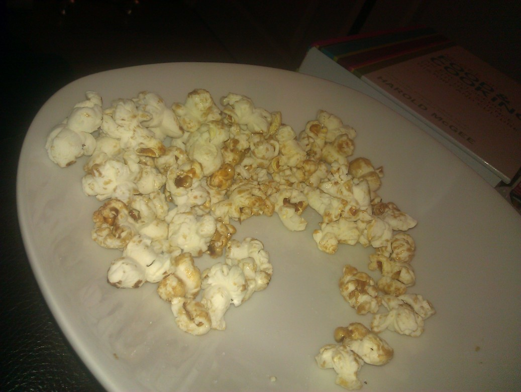 The end of a bowl of kettle corn