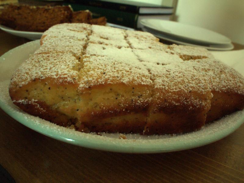 Poppy seeded lemon drizzle cake
