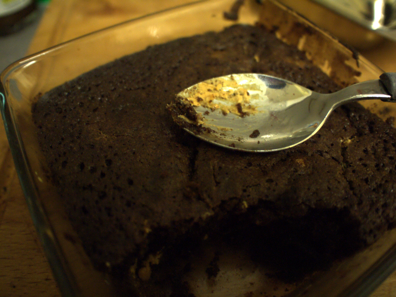 spoon on a brownie